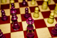 Chessboard. With king, queen, and pawns Stock Photos