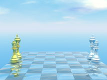 Chessboard with kings and queens - 3D render. Chessboard with kings and queens and blue sky - 3D render royalty free illustration