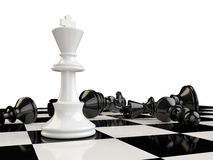 A chessboard with the kings standing and the other pieces on the Royalty Free Stock Photos