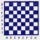 Chessboard with letters and numbers. Doodle style Stock Photo