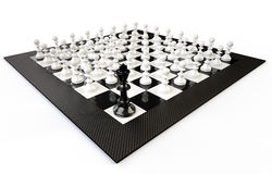 A chessboard with many pedestrians and a king, white background Royalty Free Stock Image