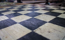 Chessboard. Old chess board in the park Royalty Free Stock Image