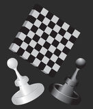 Chessboard with pawns Royalty Free Stock Photos