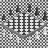 Chessboard with photorealistic pieces isometric, vector illustration. Royalty Free Stock Photo