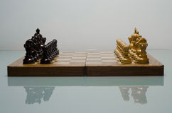 Chessboard with pieces set up for play Stock Photos