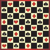 Chessboard with poker colours. Vector Royalty Free Stock Image