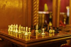 Chessboard with selective focus. Concept Stock Photos
