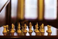 Chessboard with selective focus. Concept Royalty Free Stock Photography