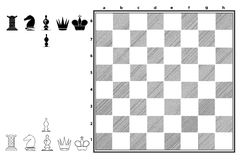 Chessboard with a set of Pieces. Chess Series - A set to play in 2D, newspaper style. Ideal to web and app players, on modern displays stock illustration