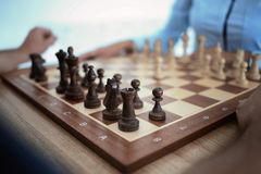 Chessboard is on the table Stock Image