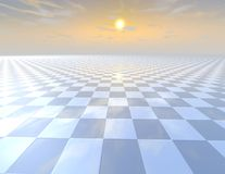 Chessboard tiled abstract background with horizon and cloudy sky. Royalty Free Stock Photos