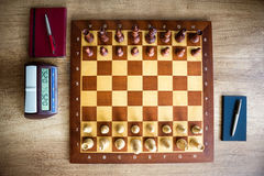 Chessboard, top view Royalty Free Stock Photography