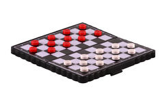 Chessboard with white and red draught Stock Photography