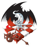 Chessboard: winners and losers. The White knight is defeating the Black knight on chessboard, vector illustration Stock Photo