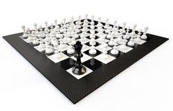 Chessboard z wiele pedestrians i królewiątkiem, biały tło Obraz Royalty Free