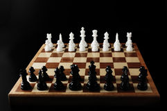 Chessboards and chess pieces. Close-up photography Royalty Free Stock Photo