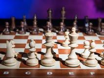 Chessborard med schack Arkivbilder