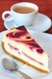 Chesse And Raspberry Cream Cake & A Cup Of Coffee Stock Photo
