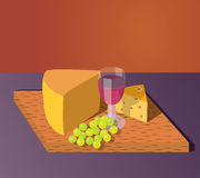 Chesse wine and grapes Royalty Free Stock Photography