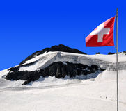 Chessjen glacier above the ski resort of Saas Fee Royalty Free Stock Photos