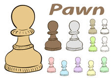 Chessman pawn. Clipart a set with multi-colored chess pawns Royalty Free Stock Photos