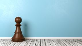 Chessman on Wooden Floor Against Wall. One Black Wooden Chessman on Wooden Floor Against Blue Wall with Copyspace 3D Illustration Stock Photography