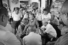 Chessmaters of Chinatown Singapore stock photo