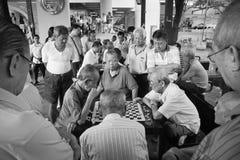 Chessmaters de Chinatown Singapur Foto de archivo