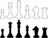 Chessmen, black and white contours. A vector illustration. It is isolated on a white background Stock Image