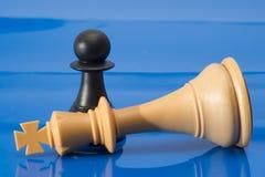Chessmen på blått. Arkivfoton