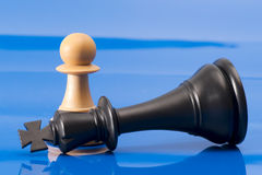 Chessmen på blått. Arkivbild