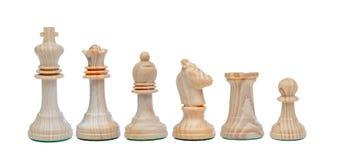 Chessmen som isoleras på vit Fotografering för Bildbyråer