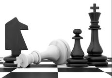 Chessmen stand on chessboard Royalty Free Stock Photo