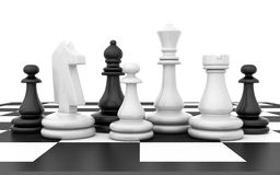 Chessmen stand on chessboard Stock Image