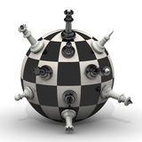 Chessmen stand on a spherical field Stock Photography