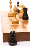 Chessmen su una scacchiera Fotografia Stock Libera da Diritti