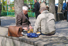 Chessplayers. ROSTOV-ON-DON, RUSSIA - April 26.2010: People playing chess in Gorky Park Stock Photo
