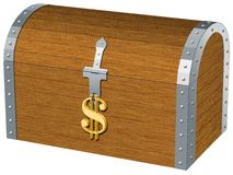 Chest. The image of the chest closed by the lock as a symbol of dollar Royalty Free Illustration
