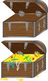 Chest. The vector image of a wooden chest with treasures and an empty chest Royalty Free Stock Photography