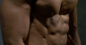 Chest and abdomen of a fitness model. The chest and upper abdomen of a fitness model. Filmed from extreme closeup as he engages in displaying his sculptured stock video footage
