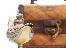 Chest and aladin lamp Stock Image