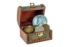 Chest with ancient coins Royalty Free Stock Photography