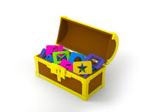 Chest with application software. Open treasure chest full of software applications icons Royalty Free Stock Images