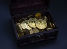 Chest bitcoin coins money business economy cash. Chest bitcoin coins money business economy royalty free stock photography