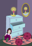 Chest, Candle, Mirror, and Toys. Stock Image
