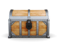 Chest in a castle isolated on a white background. Royalty Free Stock Image