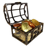 Chest with chocolate coins Stock Images