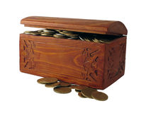 Chest with coins Stock Photography