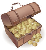 Chest with coins Royalty Free Stock Photography