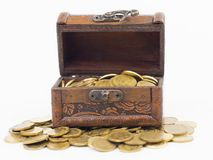 Chest with coins Royalty Free Stock Image